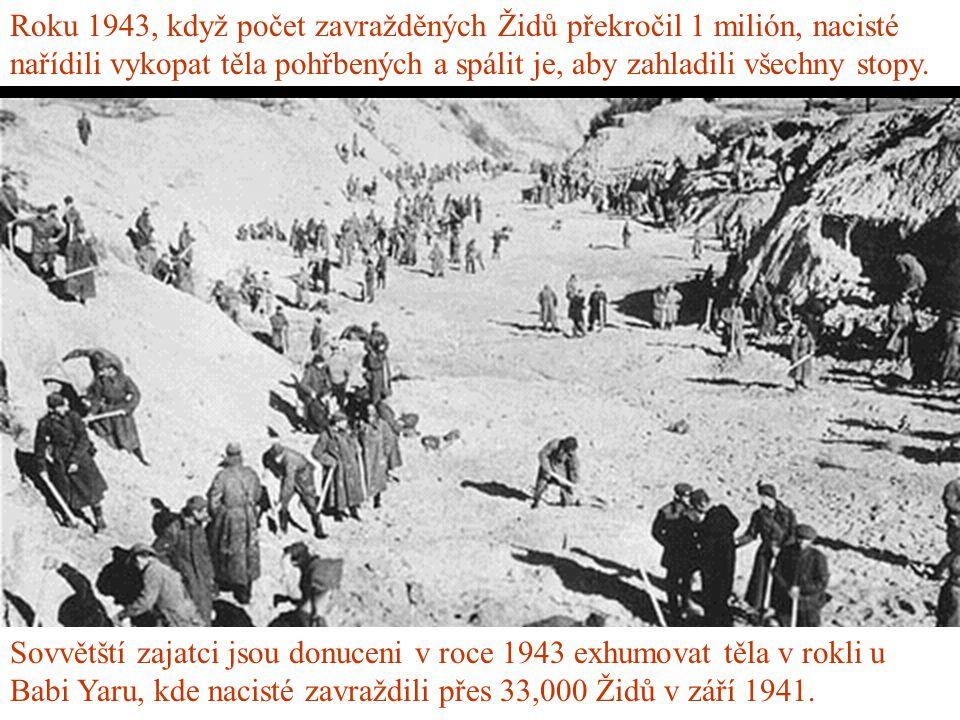 Roku 1943, když počet zavražděných Židů překročil 1 milión, nacisté nařídili vykopat těla pohřbených a spálit je, aby zahladili všechny stopy.