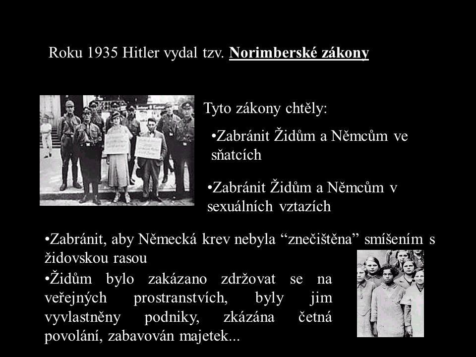 Roku 1935 Hitler vydal tzv. Norimberské zákony
