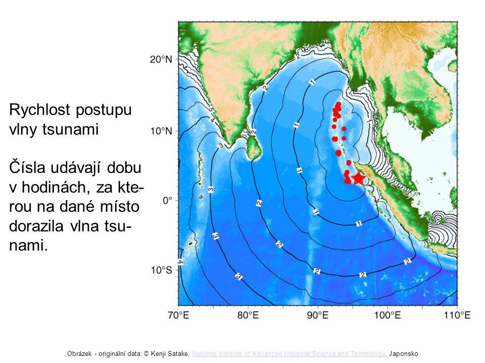 Rychlost postupu vlny tsunami Čísla udávají dobu v hodinách, za kte-