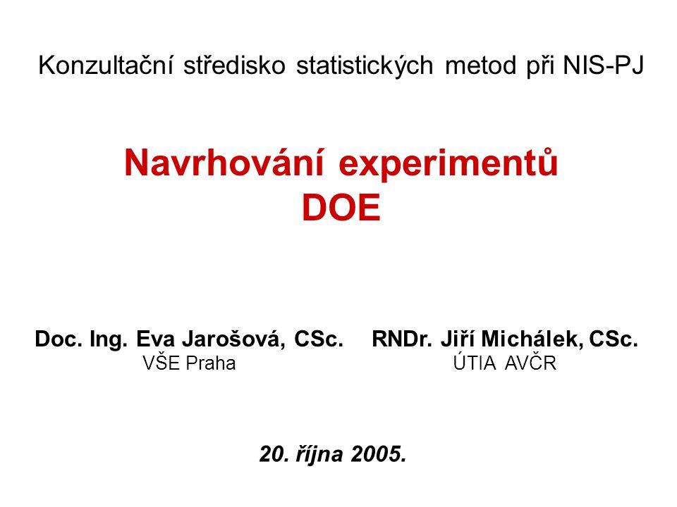 Navrhování experimentů Doc. Ing. Eva Jarošová, CSc.