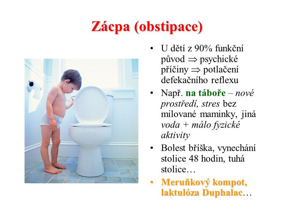 Zácpa (obstipace) U dětí z 90% funkční původ  psychické příčiny  potlačení defekačního reflexu.