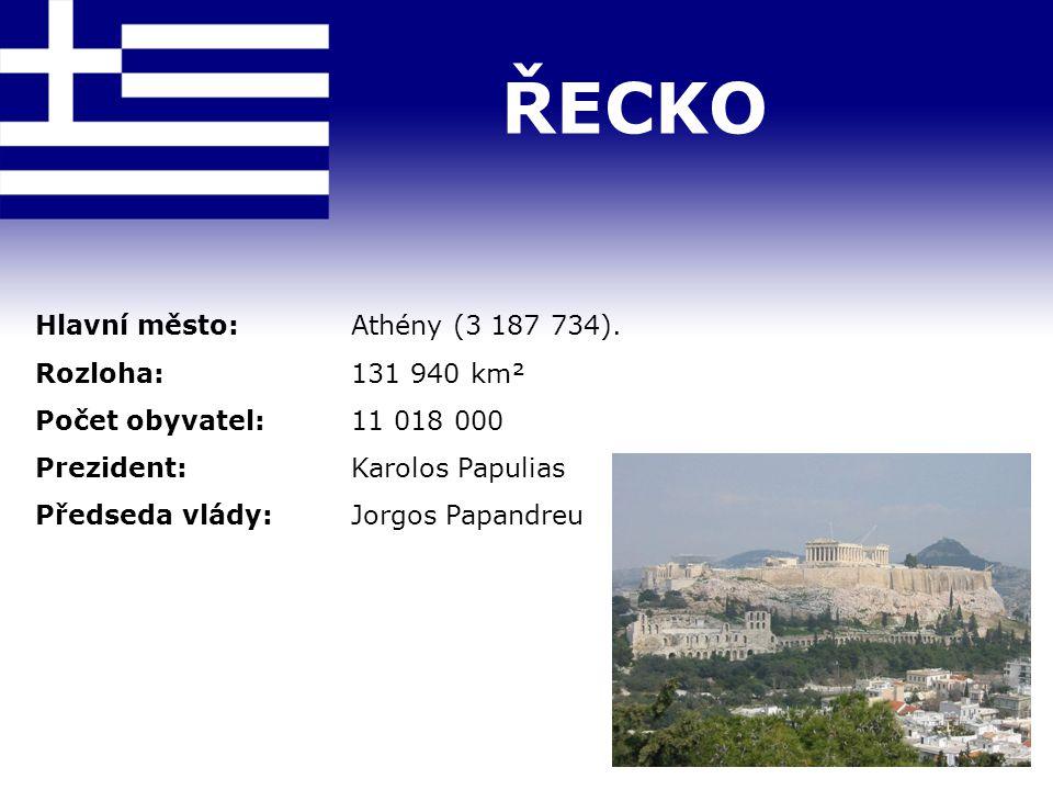 ŘECKO Hlavní město: Athény (3 187 734). Rozloha: 131 940 km²