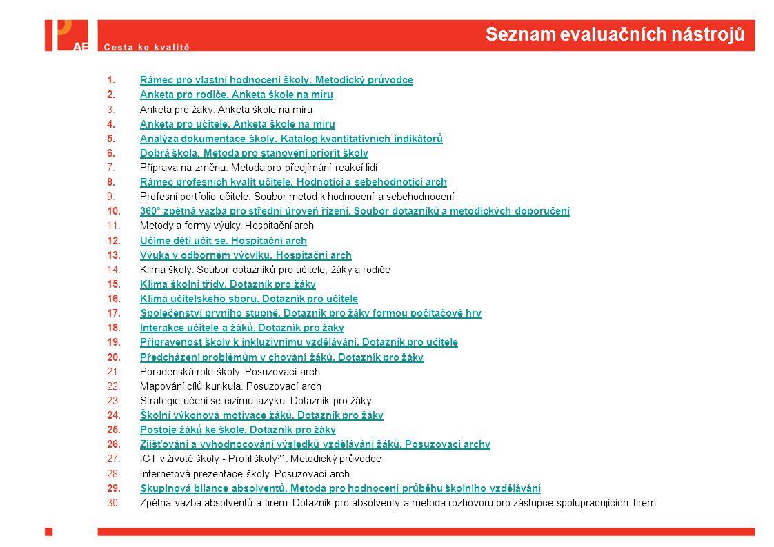 Seznam evaluačních nástrojů
