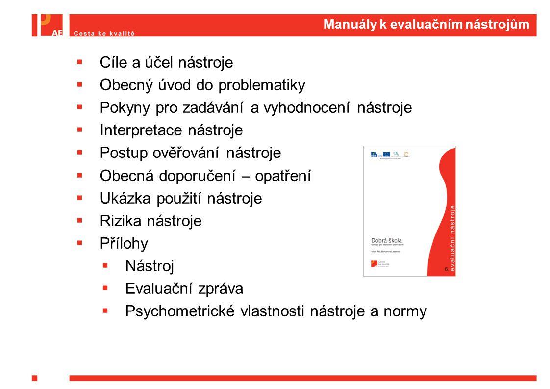Manuály k evaluačním nástrojům