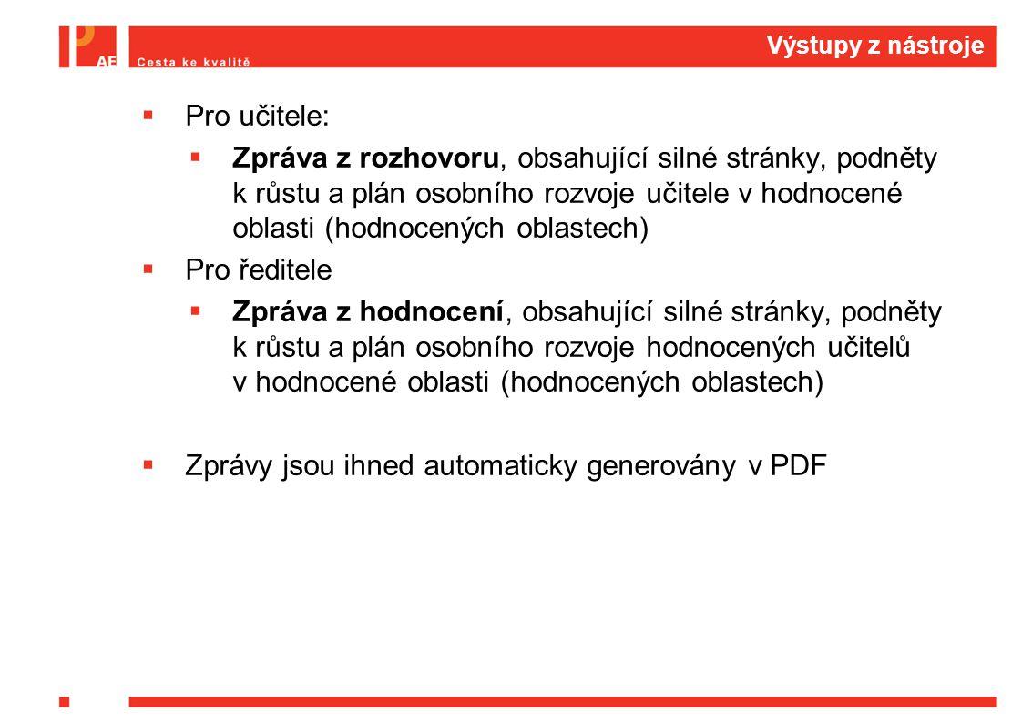 Zprávy jsou ihned automaticky generovány v PDF