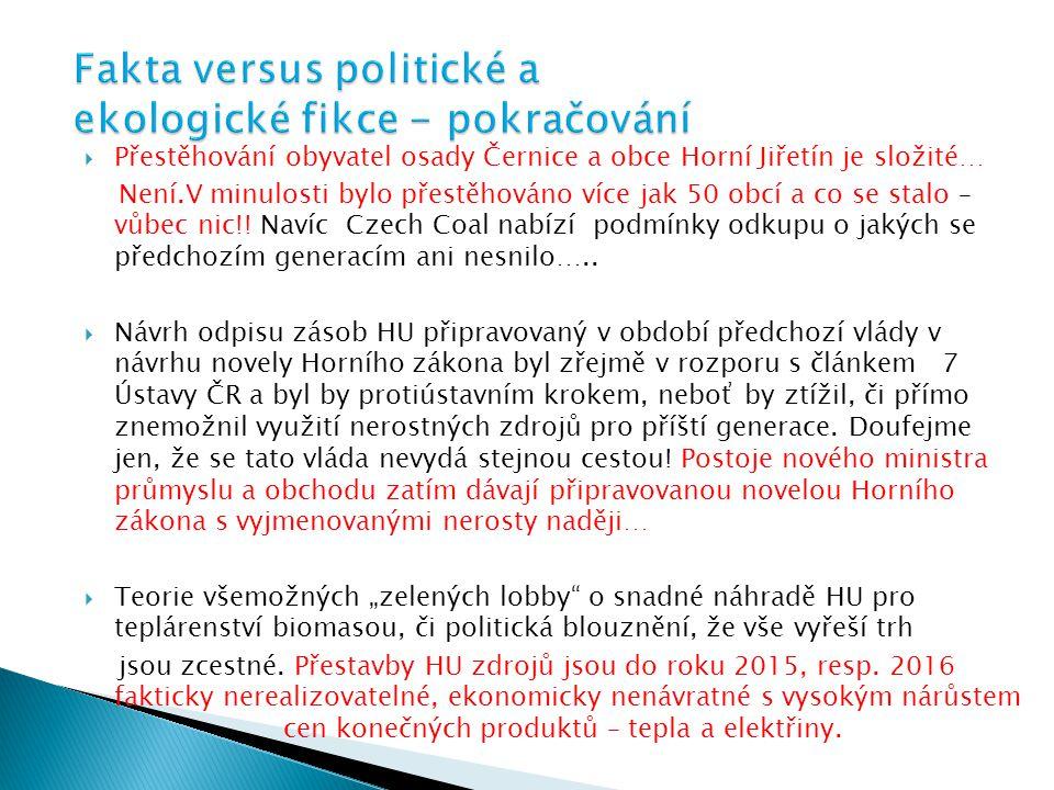 Fakta versus politické a ekologické fikce - pokračování
