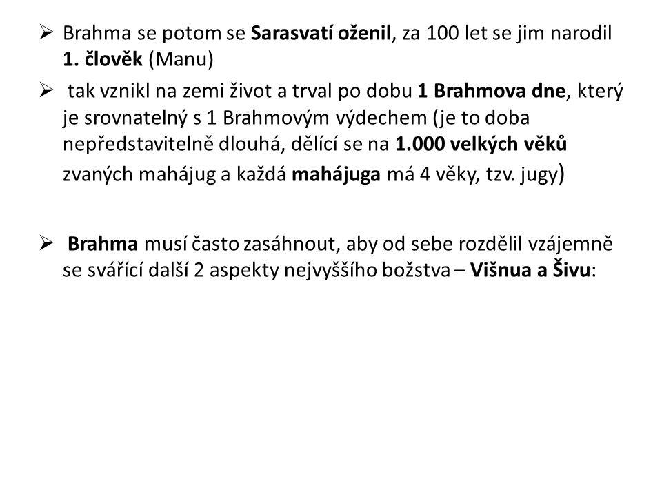 Brahma se potom se Sarasvatí oženil, za 100 let se jim narodil 1