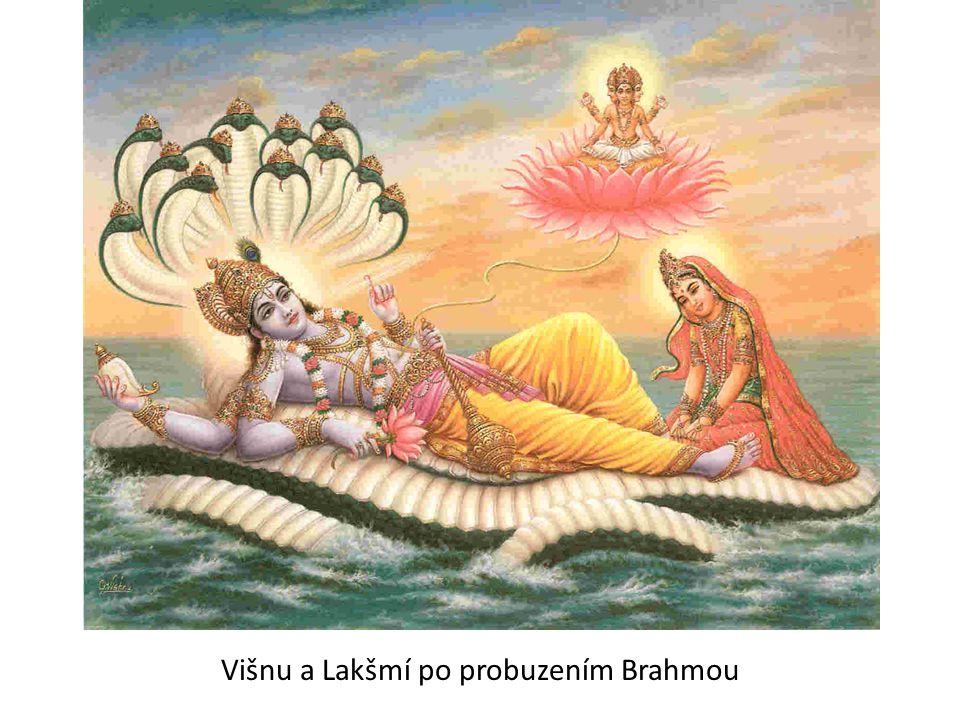 Višnu a Lakšmí po probuzením Brahmou