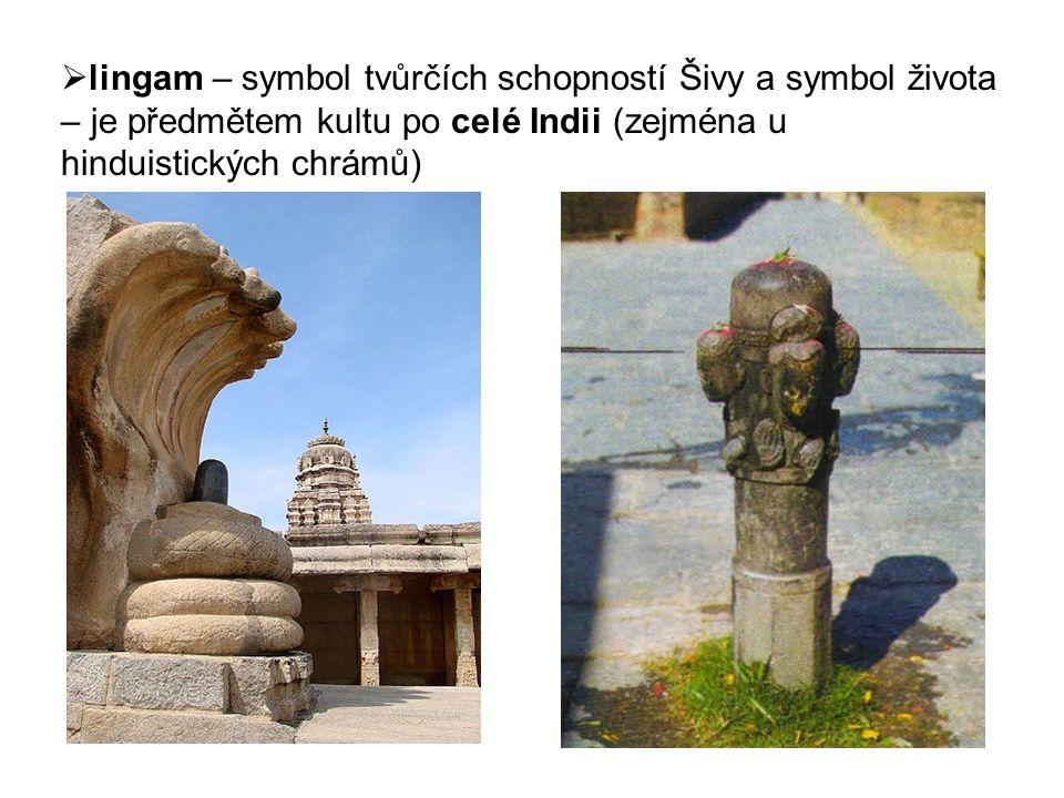 lingam – symbol tvůrčích schopností Šivy a symbol života – je předmětem kultu po celé Indii (zejména u hinduistických chrámů)