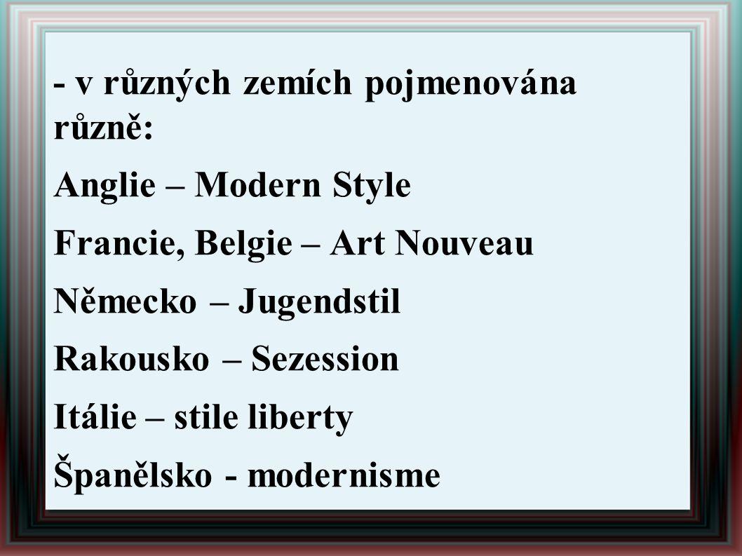 - v různých zemích pojmenována různě: