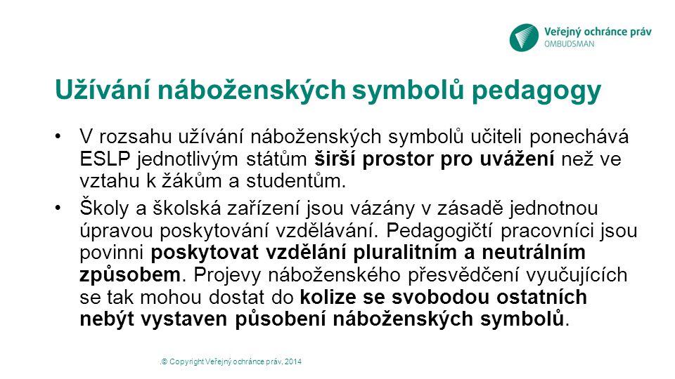 Užívání náboženských symbolů pedagogy