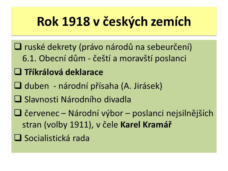 Rok 1918 v českých zemích ruské dekrety (právo národů na sebeurčení) 6.1. Obecní dům - čeští a moravští poslanci.