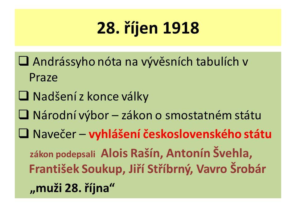 28. říjen 1918 Andrássyho nóta na vývěsních tabulích v Praze
