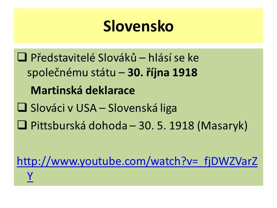 Slovensko Představitelé Slováků – hlásí se ke společnému státu – 30. října 1918. Martinská deklarace.