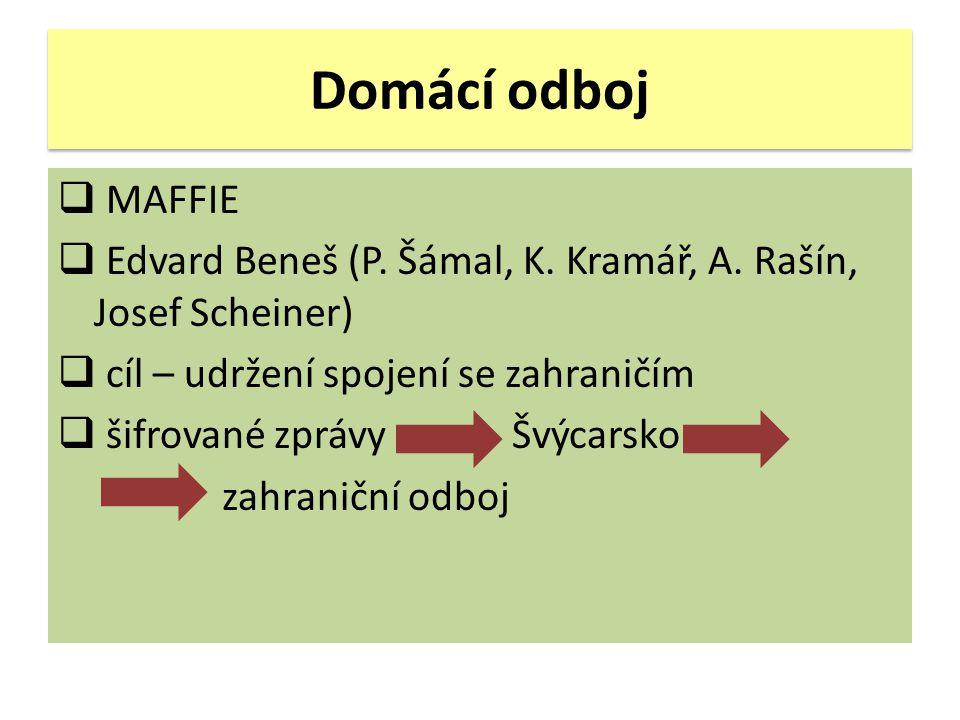 Domácí odboj MAFFIE. Edvard Beneš (P. Šámal, K. Kramář, A. Rašín, Josef Scheiner) cíl – udržení spojení se zahraničím.