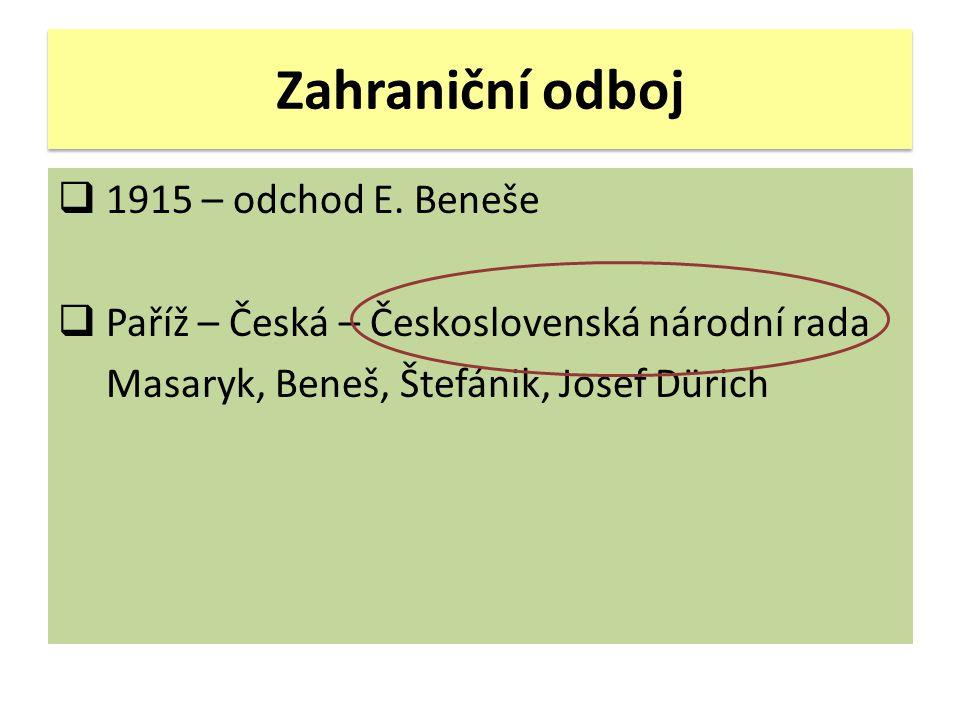 Zahraniční odboj 1915 – odchod E. Beneše