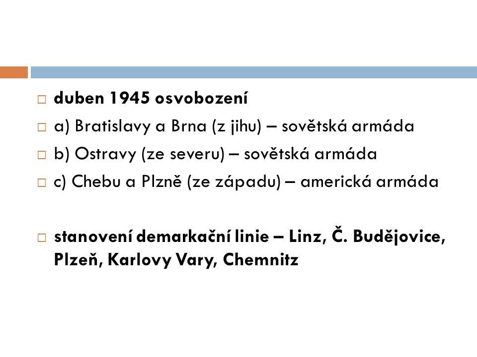 duben 1945 osvobození a) Bratislavy a Brna (z jihu) – sovětská armáda. b) Ostravy (ze severu) – sovětská armáda.