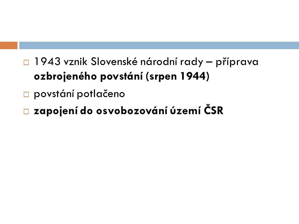 1943 vznik Slovenské národní rady – příprava ozbrojeného povstání (srpen 1944)