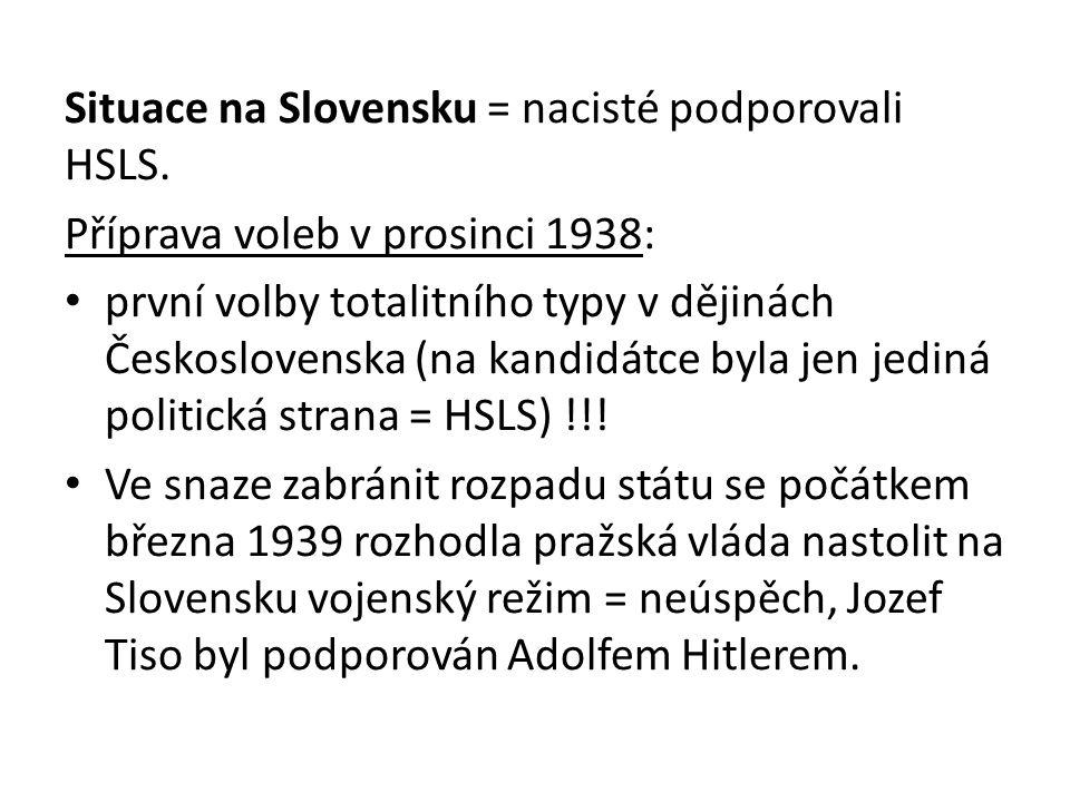 Situace na Slovensku = nacisté podporovali HSLS.