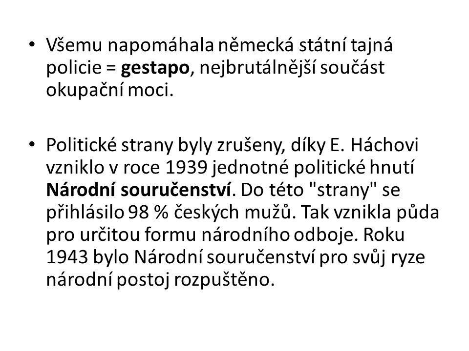 Všemu napomáhala německá státní tajná policie = gestapo, nejbrutálnější součást okupační moci.