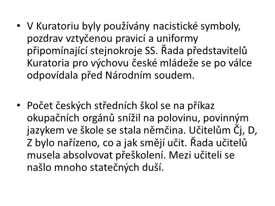 V Kuratoriu byly používány nacistické symboly, pozdrav vztyčenou pravicí a uniformy připomínající stejnokroje SS. Řada představitelů Kuratoria pro výchovu české mládeže se po válce odpovídala před Národním soudem.