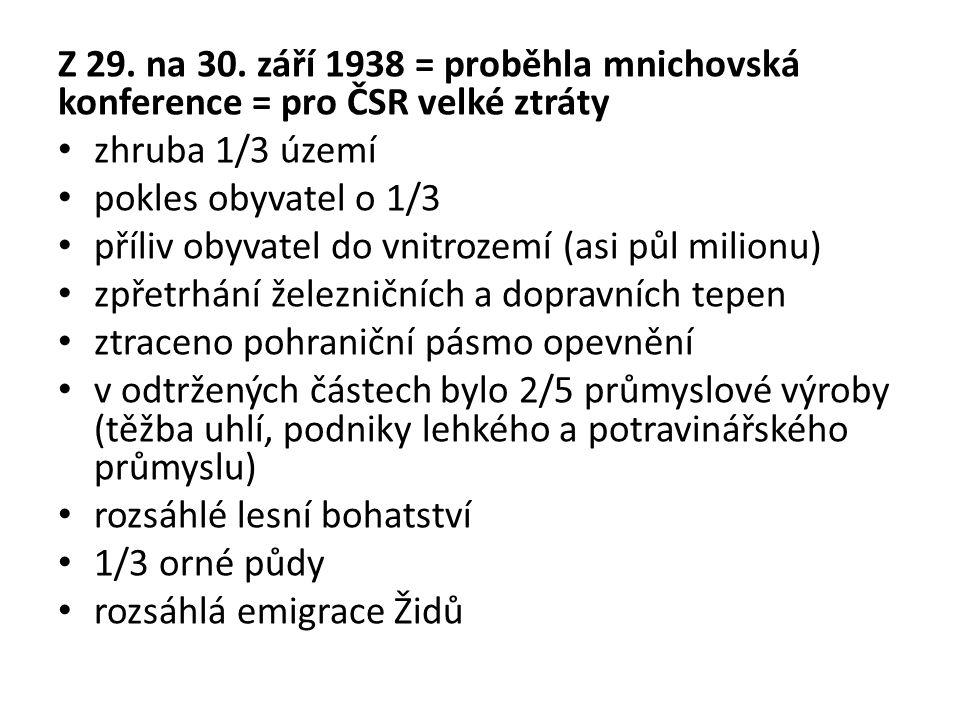 Z 29. na 30. září 1938 = proběhla mnichovská konference = pro ČSR velké ztráty