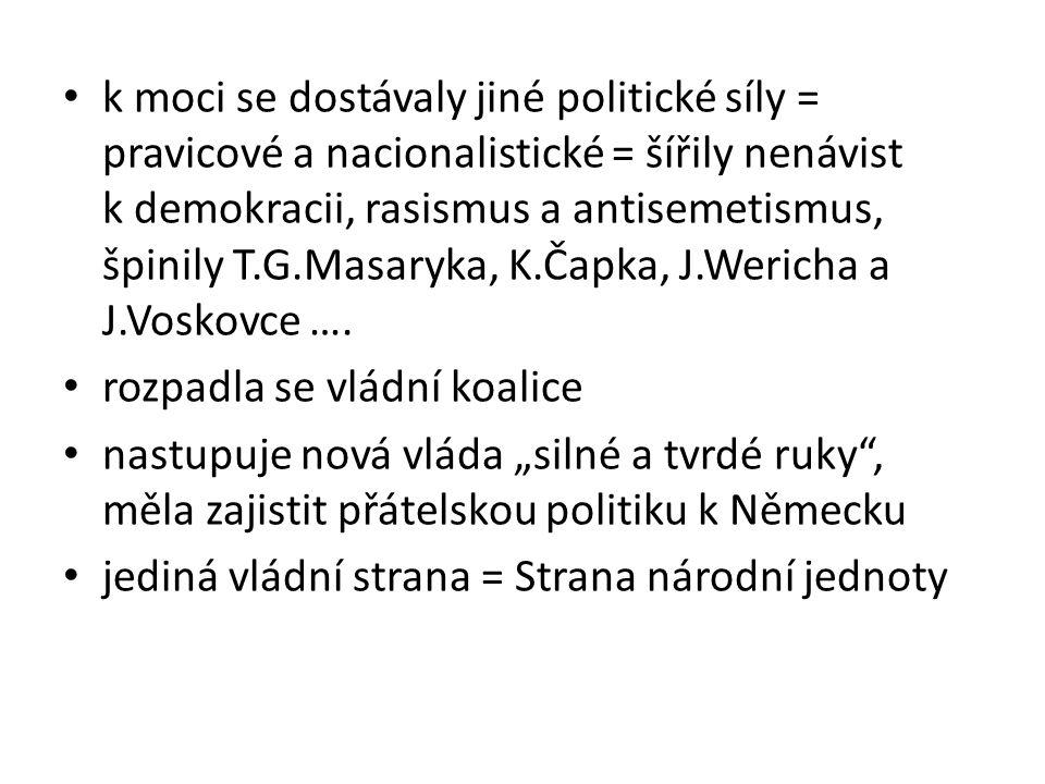 k moci se dostávaly jiné politické síly = pravicové a nacionalistické = šířily nenávist k demokracii, rasismus a antisemetismus, špinily T.G.Masaryka, K.Čapka, J.Wericha a J.Voskovce ….