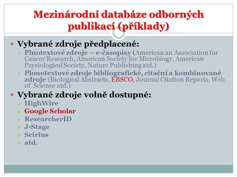 Mezinárodní databáze odborných publikací (příklady)