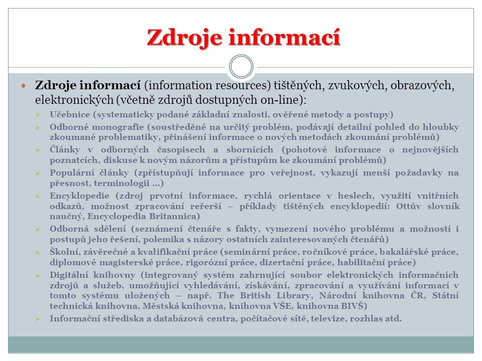 Zdroje informací Zdroje informací (information resources) tištěných, zvukových, obrazových, elektronických (včetně zdrojů dostupných on-line):