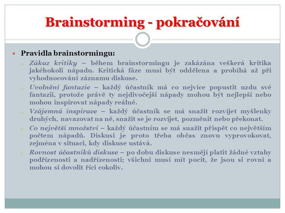 Brainstorming - pokračování