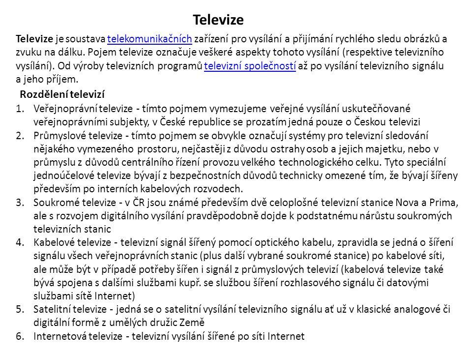 Televize Rozdělení televizí