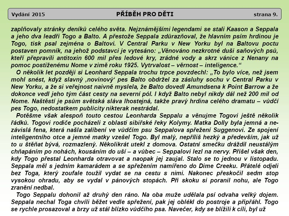Vydání 2015 PŘÍBĚH PRO DĚTI strana 9.