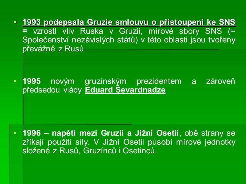 1993 podepsala Gruzie smlouvu o přistoupení ke SNS = vzrostl vliv Ruska v Gruzii, mírové sbory SNS (= Společenství nezávislých států) v této oblasti jsou tvořeny převážně z Rusů