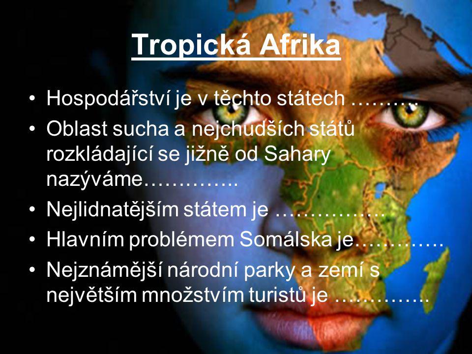 Tropická Afrika Hospodářství je v těchto státech ……….