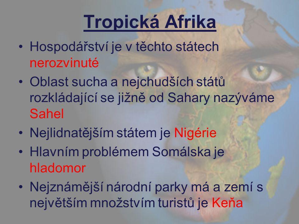 Tropická Afrika Hospodářství je v těchto státech nerozvinuté