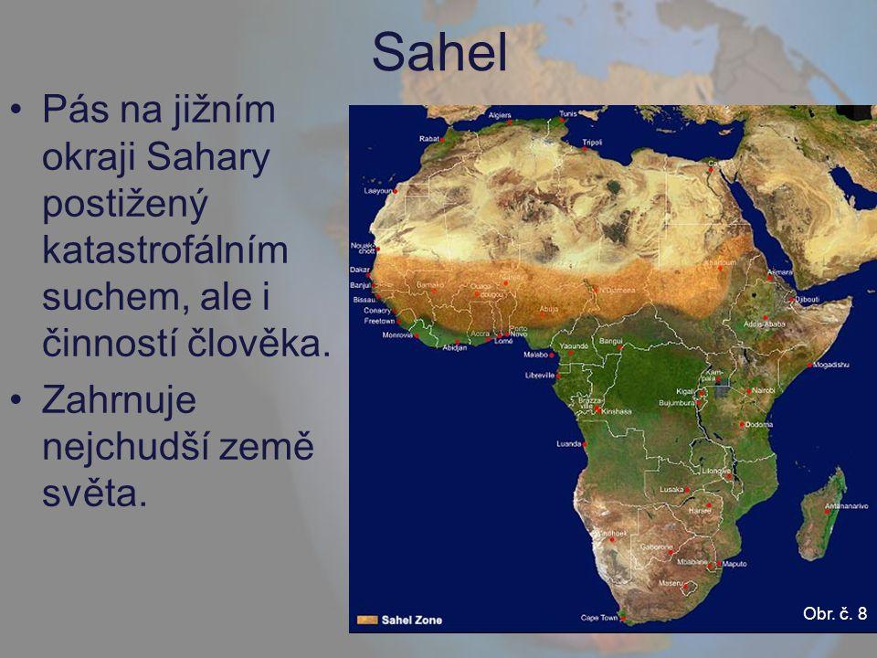 Sahel Pás na jižním okraji Sahary postižený katastrofálním suchem, ale i činností člověka. Zahrnuje nejchudší země světa.