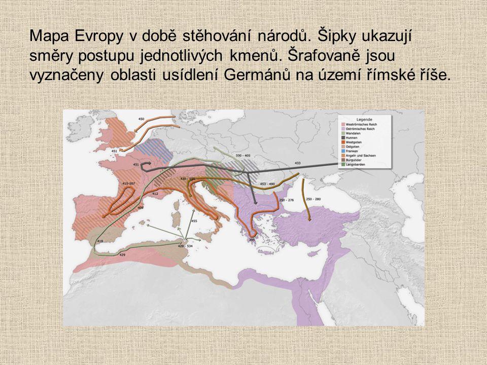 Mapa Evropy v době stěhování národů