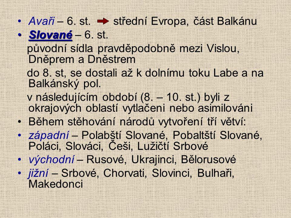 Avaři – 6. st. střední Evropa, část Balkánu
