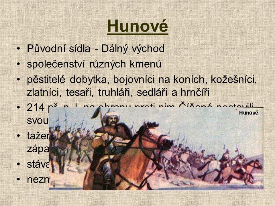 Hunové Původní sídla - Dálný východ společenství různých kmenů