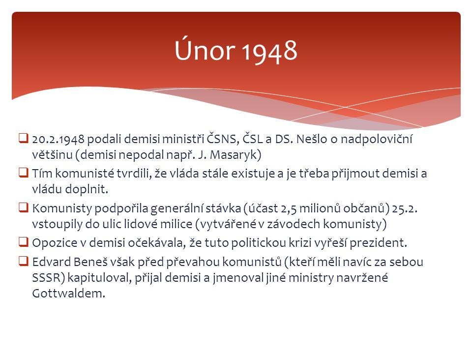 Únor 1948 20.2.1948 podali demisi ministři ČSNS, ČSL a DS. Nešlo o nadpoloviční většinu (demisi nepodal např. J. Masaryk)