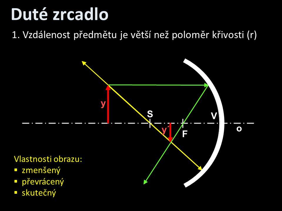 Duté zrcadlo 1. Vzdálenost předmětu je větší než poloměr křivosti (r)