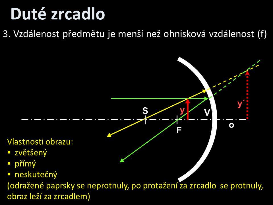Duté zrcadlo 3. Vzdálenost předmětu je menší než ohnisková vzdálenost (f) y´ S. y. V. o. F. Vlastnosti obrazu: