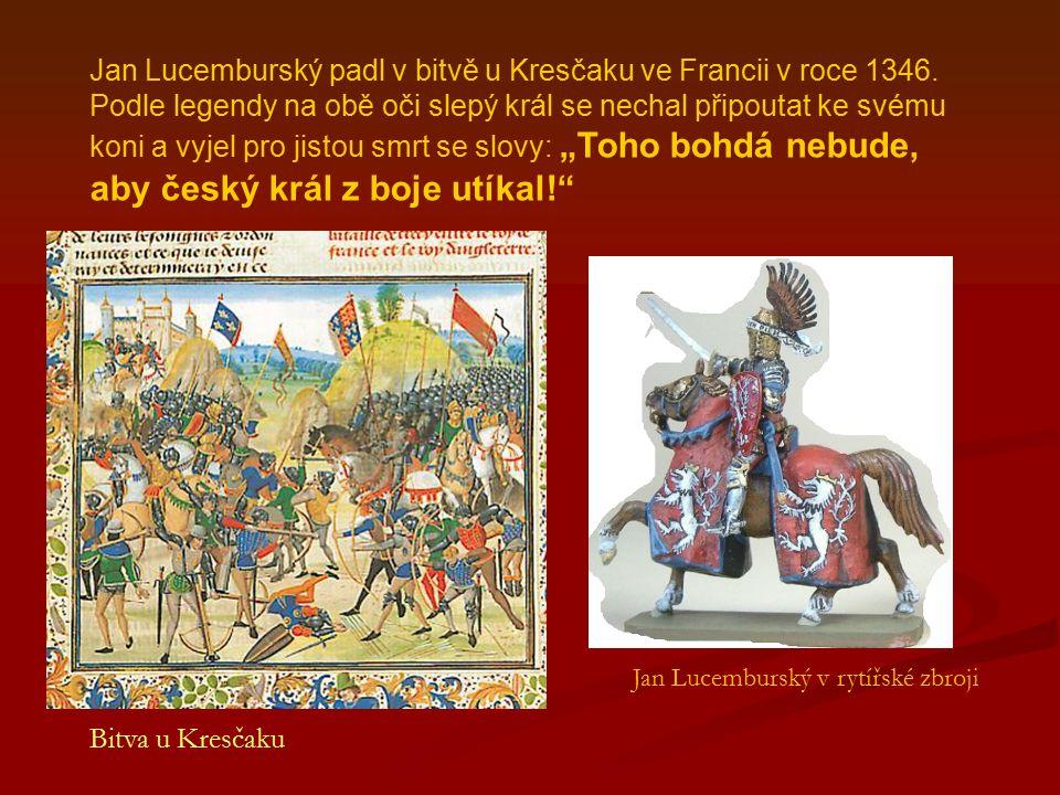 Jan Lucemburský padl v bitvě u Kresčaku ve Francii v roce 1346.