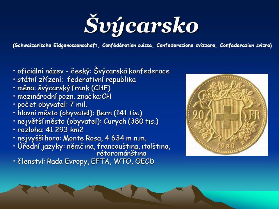 Švýcarsko oficiální název - český: Švýcarská konfederace