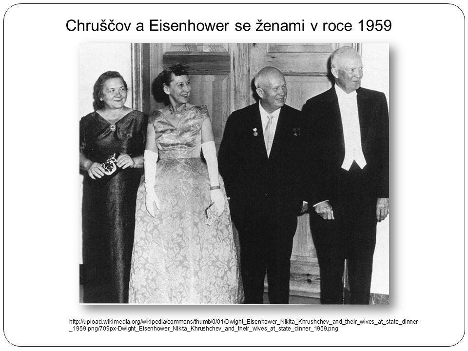 Chruščov a Eisenhower se ženami v roce 1959