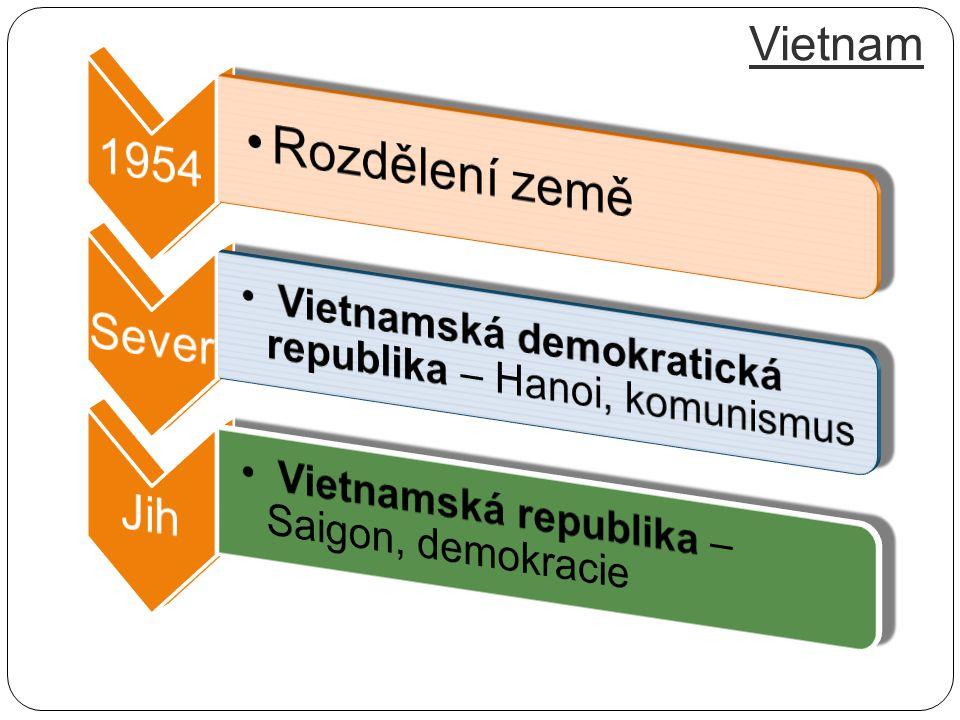 Rozdělení země Vietnam 1954 Sever