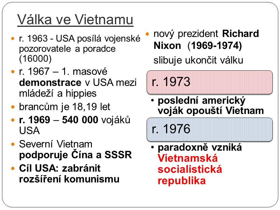 Válka ve Vietnamu nový prezident Richard Nixon (1969-1974)