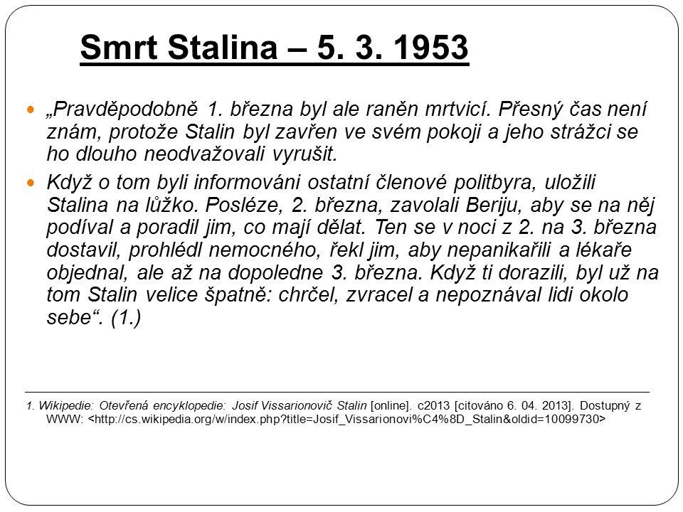 Smrt Stalina – 5. 3. 1953