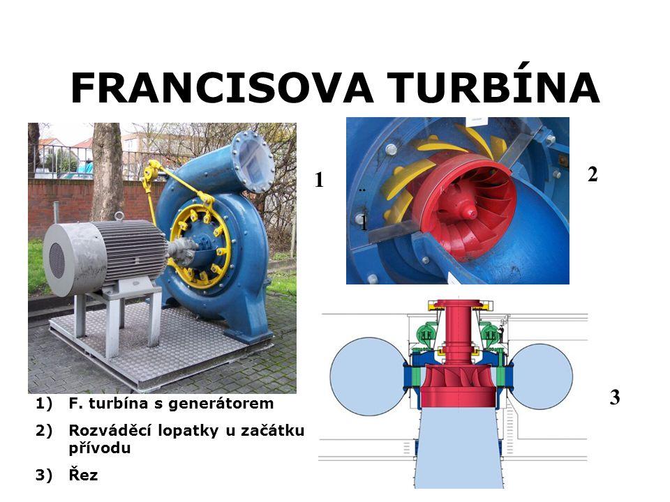 FRANCISOVA TURBÍNA 2 1 ¨1 3 F. turbína s generátorem