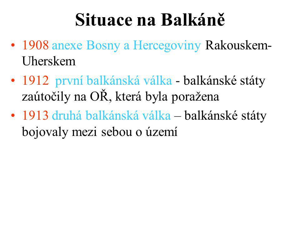 Situace na Balkáně 1908 anexe Bosny a Hercegoviny Rakouskem-Uherskem